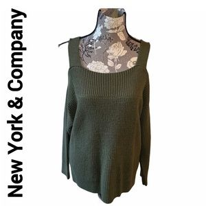 NEW YORK & Company Green Cold Shoulder Sweater